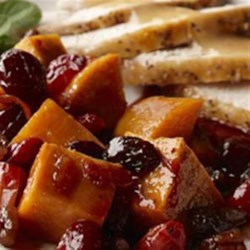 Spiced Sweet Potatoes and Cranberries Recipe - Two good-for-you Thanksgiving dishes all in one.