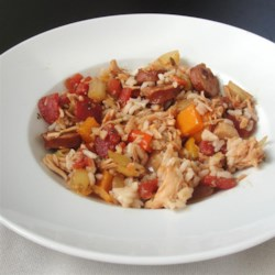 Quick and Easy Jambalaya Recipe - Instant brown rice, smoked sausage, and canned cooked chicken help get this easy jambalaya to your dinner table quickly.