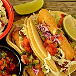Wonderful Fried Fish Tacos Recipe - Beer battered, fried fish tacos served with all the fixings. The fish of choice is cod, but haddock is also a good bet.