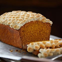 Pumpkin Spice Bread with Toasted Marshmallows Recipe - Delicious pumpkin spice loaves are 'frosted' with mini marshmallows toasted under the broiler.