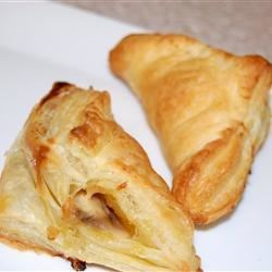 Wild Mushroom Puff Pastry Recipe - Puff pastry triangles with a savory wild mushroom and cheese filling make an elegant and easy appetizer.  If you love mushrooms, this is your recipe.