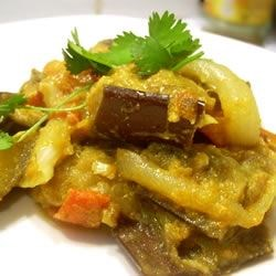 Baingan Bharta (Eggplant Curry) Recipe - Enjoy this spicy Indian eggplant curry dish over rice or with Indian bread (or both).