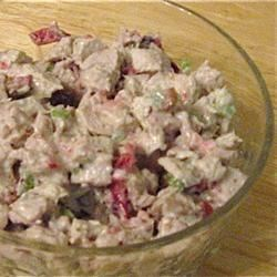 Festive Fall Turkey Salad Recipe - Enjoy holiday flavors even after the big feast is over by preparing a classic turkey salad made with mayonnaise, chopped celery, toasted cashews, sage, thyme, and orange accented cranberries. Serve the salad as an appetizer, lunch dish, or enjoy it on rolls, in wraps, or as a spread for crackers.