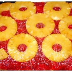 Rhubarb Pineapple Upside-Down Cake Recipe - Not your typical rhubarb cake!  The pineapple and marshmallows add a little twist!  It'll be eaten up in a flash!