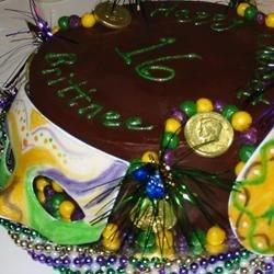 Ganache Mardi Gras Cake