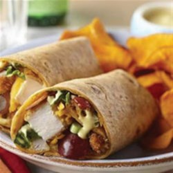 Honey Mustard Crispy Chicken Wrap Recipe - Usecrushed, crisp ricecereal squaresinstead of panko crumbs with gluten-free wraps for a gluten-free version!