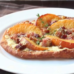 Fried Peach and Pancetta Pizza Recipe - Transform your extra summer peaches into a savory appetizer using Chef John's recipe for fried peach and pancetta pizza with thyme.