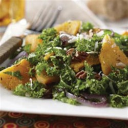 Autumn Butternut and Kale Salad with Maple Vinaigrette Recipe - A nutritional powerhouse with squash and kale but you'll want a second helping because it tastes so good!
