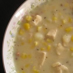 Chicken and Corn Chowder with Thyme Recipe - Half-and-half is added to this chicken soup with potatoes, onion, scallion, corn and crumbled crisp bacon.