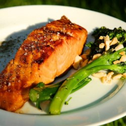 Sweet Glazed Salmon Recipe - Marinate your salmon fillets in a mixture of soy sauce, brown sugar, honey, and red pepper flakes for a tasty glazed main course.