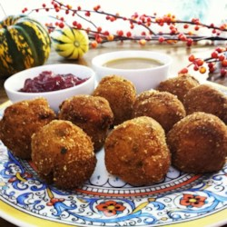 Deep-Fried Stuffing Recipe - Deep-fried stuffing is a rich and creative way to transform leftover stuffing from Thanksgiving; serve with gravy and cranberry sauce.
