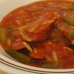 Tim's Sausage Stew Recipe - A satisfying sausage and tomato stew with tiny Acini di Pepe pasta and herbs.