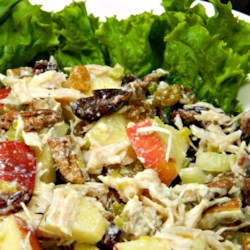 Best Chicken Salad Ever Recipe - Use canned chicken, sweet relish, pecans, and raisins to make this surprisingly nice chicken salad with a touch of sweetness.