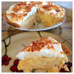 Coconut Cream Pie Recipe - A rich and smooth coconut custard pie. Top with whipped cream and toasted coconut, if desired.