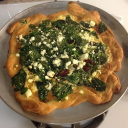Greek Pizza with Spinach, Feta and Olives