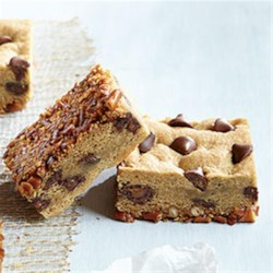 """Flipped"" Pretzel Cookie Bars with Caramel Filled DelightFulls(TM) Recipe - Salty, crunchy, sweet and savory come together in a chewy cookie bar that will make family and friends flip over every bite."