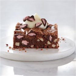 Chocolate Almond Brownies with Cherry Flavored Filled DelightFulls(TM) Recipe - There is something decadent about the flavors of dark chocolate and cherry. This rich brownie recipe, accentuated by notes of toasted almond, delivers on indulgence in every bite.