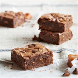 Dark Chocolate Brownies with Caramel Filled DelightFulls(TM) Recipe - Our Dark Chocolate Morsels contain 53 percent cacao which make them ideal for melting as a brownie batter base. Stir in and top with some Caramel Filled DelightFulls for a double chocolate, buttery caramel hit.