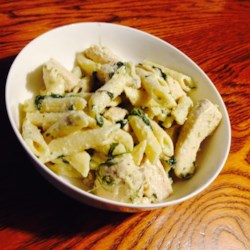 Pesto Chicken Florentine Recipe and Video - Spinach, chicken and pasta are smothered in a glorious creamy pesto sauce.