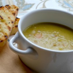 Ham and Split Pea Soup Recipe - A Great Soup Recipe - With the slightly sweet, somewhat salty, and subtly smoky flavor of the ham, this hearty soup is the ideal fall or winter soup -- a great one for lunches, or as a starter for dinner.