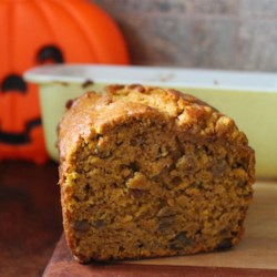 Pumpkin Bread V Recipe - This loaf features a strong pumpkin taste enhanced by brown sugar, with a lighter spice component that does not rely as much on cinnamon as other renditions of this popular bread.  The optional nuts and raisins can be included to suit individual tastes.