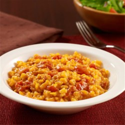 Easy Risotto with Squash and Bacon Recipe - A no-stir baked risotto recipe combines frozen pureed squash and tomatoes with rice and bacon for easy prep during the week.