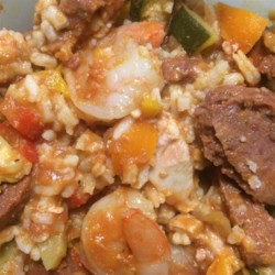 My Jambalaya Recipe - Jambalaya made with rice, chicken, shrimp, and tomatoes is a quick version of the traditional Creole-inspired dish.