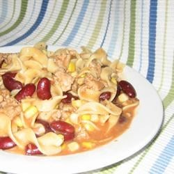 Goulash I Recipe - Ground beef and onion browned and combined with seasonings, corn, kidney beans, condensed tomato soup, and egg noodles. Cooks in 20 minutes!