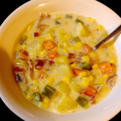Corn Chowder Canadian Style Recipe - Canadian style corn chowder contains lots of bacon, corn, and potatoes in a creamy base. It's a great stick-to-your-ribs meal on a cold day.