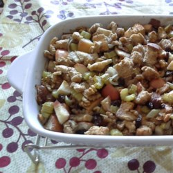 Apple Nut Stuffing Recipe - A fruity stuffing that can be used to stuff turkey, chicken, or pork with fabulous results.