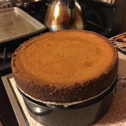 Pumpkin Cheesecake in a Gingersnap Crust  Recipe - Pumpkin cheesecake with ginger snap crust - an old classic recipe.