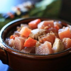 Rutabaga Stew Recipe - This budget-friendly root vegetable stew uses rutabagas, celery, carrots, and beets with chicken, though you can use whatever meat you fancy.