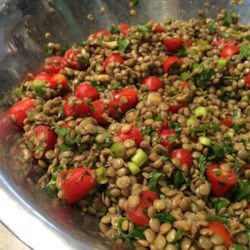 Cold Lentil Salad Recipe - Lentils are combined with roasted garlic, sweet grape tomatoes, and plenty of parsley and served with a simple balsamic dressing for a salad that makes a nice lunch or light supper.