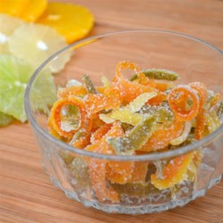 Sweet Candied Orange and Lemon Peel Recipe - With this easy-to-follow recipe, orange and lemon peel become an elegant -- yet still a bit tart -- sugared confection.