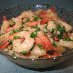 Caribbean Holiday Shrimp Recipe - Cooked shrimp marinated in ginger, lime juice, garlic, soy sauce and cilantro.