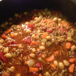 Vegetable Beef Minestrone Recipe - Beef, bacon and vegetables are delicious in this chick pea minestrone.