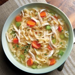 NO YOLKS(R) Chicken Noodle Soup Recipe - Flavorful herbs, fresh vegetables and NO YOLKS(R) Noodles make this homemade chicken noodle soup an all-time favorite.