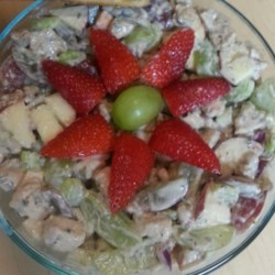 Chicken Salad with Apples, Grapes, and Walnuts Recipe - Leftover grilled chicken breasts are ideal for making this chicken salad in a yogurt based dressing with apples, celery, red onion, and grapes.