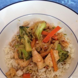 Kim's Stir-Fried Ginger Garlic Chicken Recipe - Chicken is stir-fried in coconut oil with garlic, ginger, and hoisin sauce to make a sweet, savory dish.