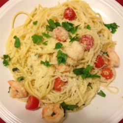 Shrimp Scampi with Linguini Recipe - This recipe results in lots of garlicky shrimp tossed with some linguine, white wine, and lemon juice.