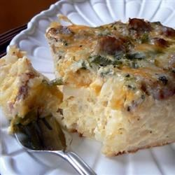 Farmer's Casserole Recipe - Ham, green onions, and hash browns baked with spicy pepperjack cheese make up this easy make-ahead breakfast dish.
