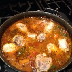 Chicken Vegetable Stew Recipe - Chicken stew with loads of onion, garlic, and mushrooms is a hearty and warming meal for cold evenings.