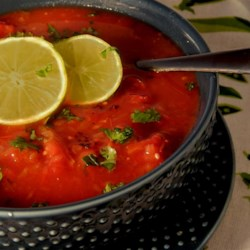 Spicy Tequila-Lime Tomato Soup Recipe - Tomato soup just got an extra kick thanks to jalapeno peppers and tequila added to the mix, creating a spicy and spiked tomato soup.