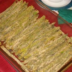 Asparagus Oregenato Recipe - Fresh asparagus is baked with seasoned bread crumbs, garlic powder and Parmesan cheese for a scrumptious dish that will complement any meal.