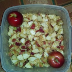 Candy Apple Salad Recipe - My grandmother gave me this recipe earlier today. I am not crazy about Apples, but loved this salad. I told my husband to hurry up and eat it before I eat too much. My grandmother told me it is like the candy apples at a fair, which I also am not crazy about, but this was the best salad ever! Hope you all enjoy.
