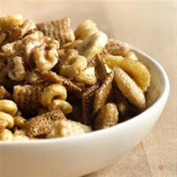 Banana Nut Bread Chex(TM) Party Mix Recipe - All the flavors of America's favorite fruit bread now come together in a fun new snack mix made in minutes in your microwave.