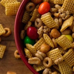 Honey-Peanut School Fuel Recipe - Honey-roasted peanuts, Chex(TM) cereal and Cheerios(TM) protein cereal are even more delicious when coated in a light honey glaze and tossed with candy for a quick and satisfying snack.