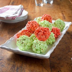 Festive JELL-O Popcorn Balls Recipe - These popcorn balls can be any color or combination of flavors and colors--and they're fun to make.