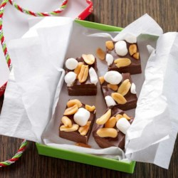 Rocky Road Fudge Bites Recipe - Rocky road isn't just for ice cream. Add marshmallows and peanuts to chocolate fudge to get that delicious mix of flavors in a chewy, crunchy treat.