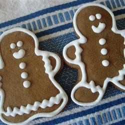 Soft Ginger Cut-Outs Recipe - These are a soft cake-like, low fat gingerbread cookie frosted with white frosting. They are also known as Sally Ann Cookies.